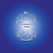 Decorative tiara in blue background