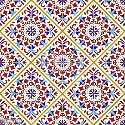 vintage tile pattern with colorful patchwork Turkish style, abstract floral decorative element for your design, beautiful Indian and Arabian background, ceramic wallpaper seamless decor vector