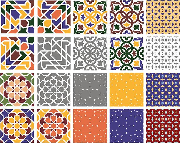 ilustraciones, imágenes clip art, dibujos animados e iconos de stock de decorativo azulejos (vector - patrones de azulejos