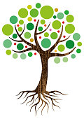 A small graphic tree and roots
