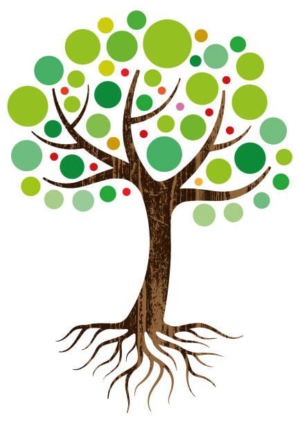 Decorative tree and roots illustration vector art illustration