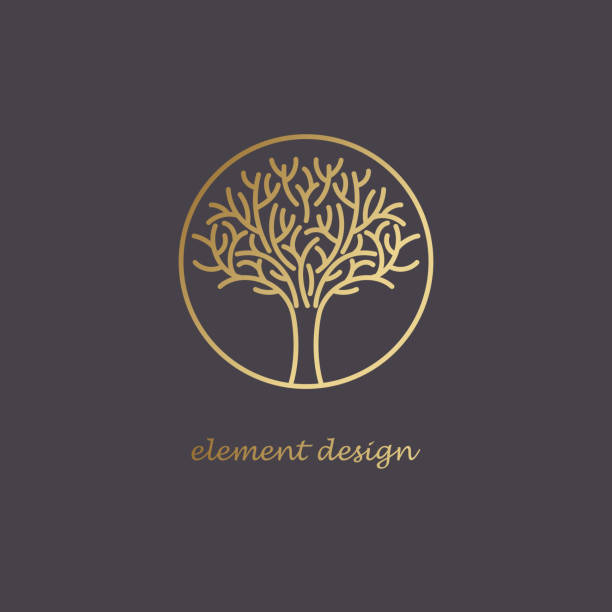 decorative tree icon to create a icon. - naturopathy stock illustrations, clip art, cartoons, & icons