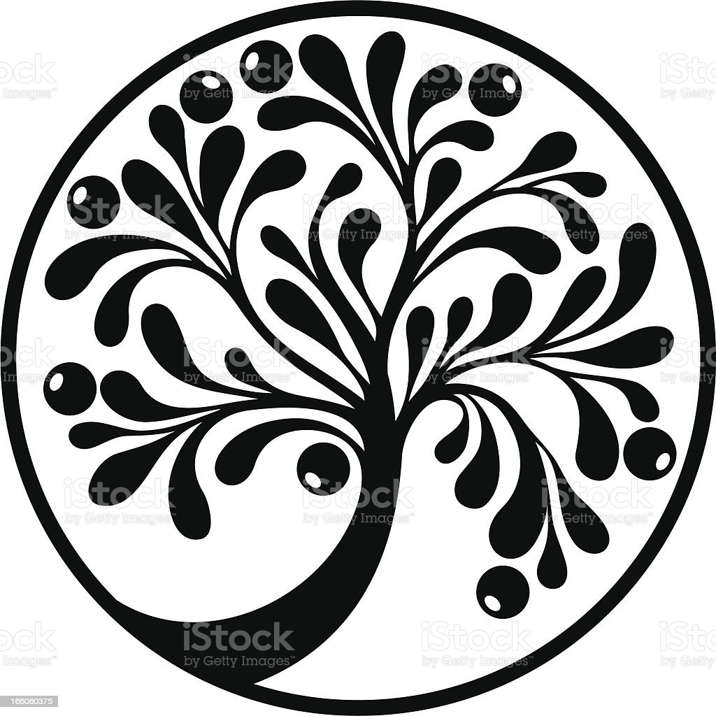 Decorative tree in black royalty-free stock vector art