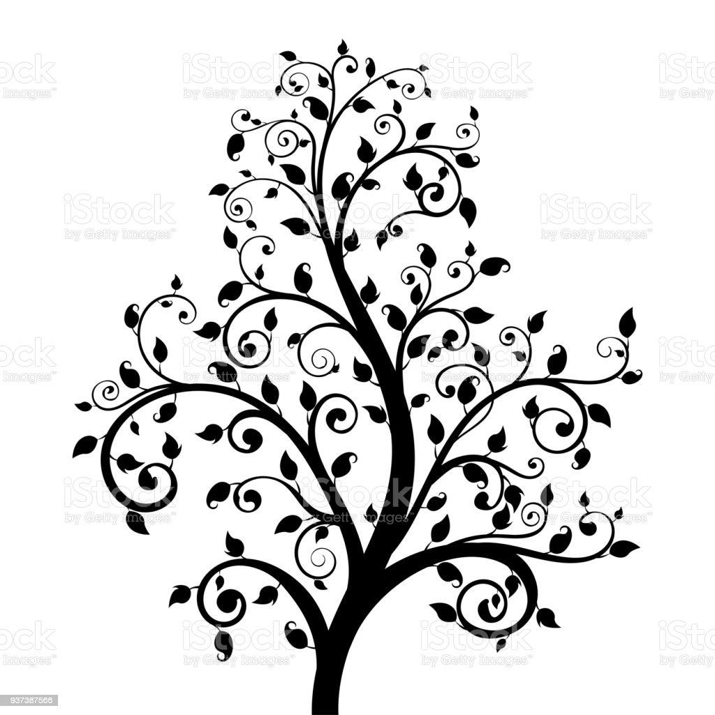 arbre décoratif avec des feuilles – cliparts vectoriels et plus d