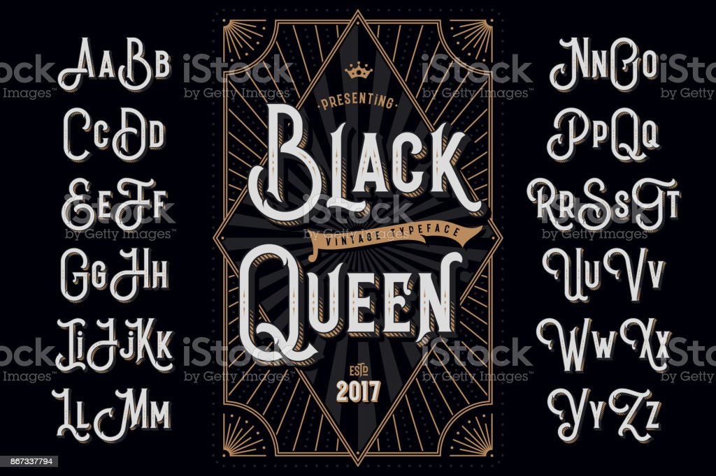 "Decorative typeface named ""Black Queen"" with extruded lines effect and vintage label template"