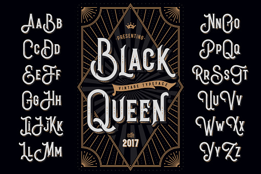 """Decorative typeface named """"Black Queen"""" with extruded lines effect and vintage label template"""