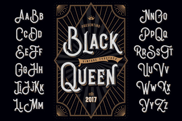 "decorative typeface named ""black queen"" with extruded lines effect and vintage label template - украшенный stock illustrations"