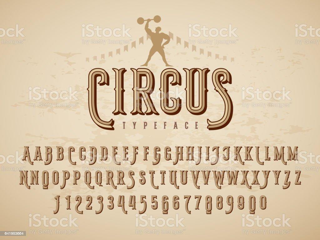 Decorative typeface on grunge texture background - Векторная графика Алфавит роялти-фри