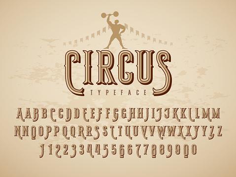 Decorative Typeface On Grunge Texture Background — стоковая векторная графика и другие изображения на тему Алфавит