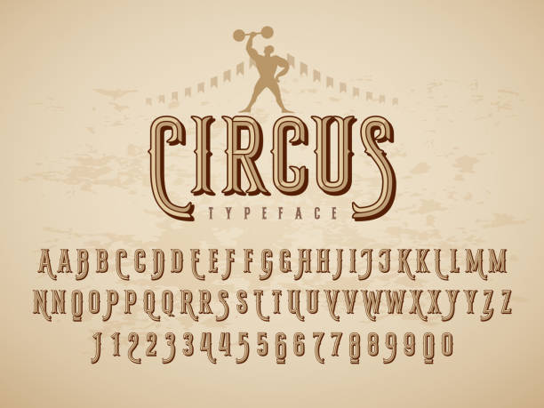 decorative typeface on grunge texture background - circus stock illustrations