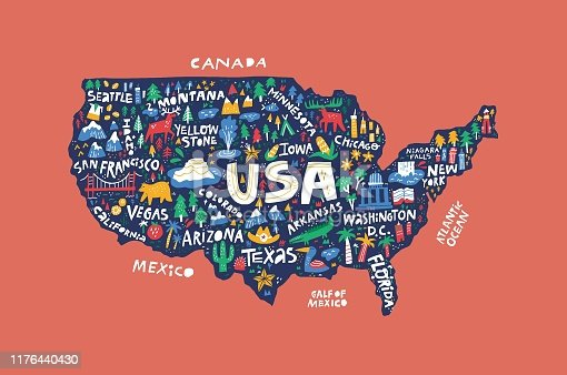 Decorative USA map flat hand drawn vector illustration. American states and cities names lettering with cartoon landmarks isolated on red background. America infographic poster, banner design