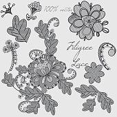 Decorative vector filigree lace design in blue color. Set of elements