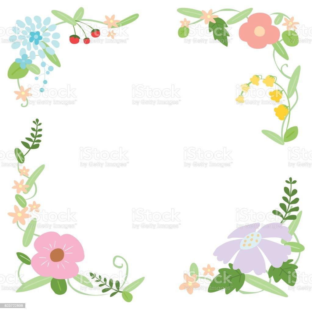 装飾的なベクトル花フレーム イラスト背景 - お祝いのベクターアート素材