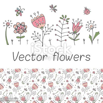 Set of vector flowers in a stained glass style with a butterfly, dragonfly and ladybug