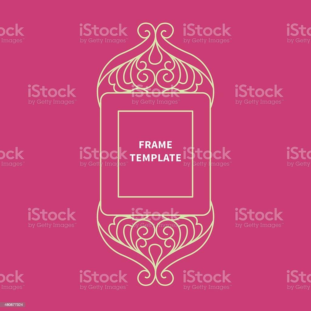 Decorative vector monogram for design, line art frame.