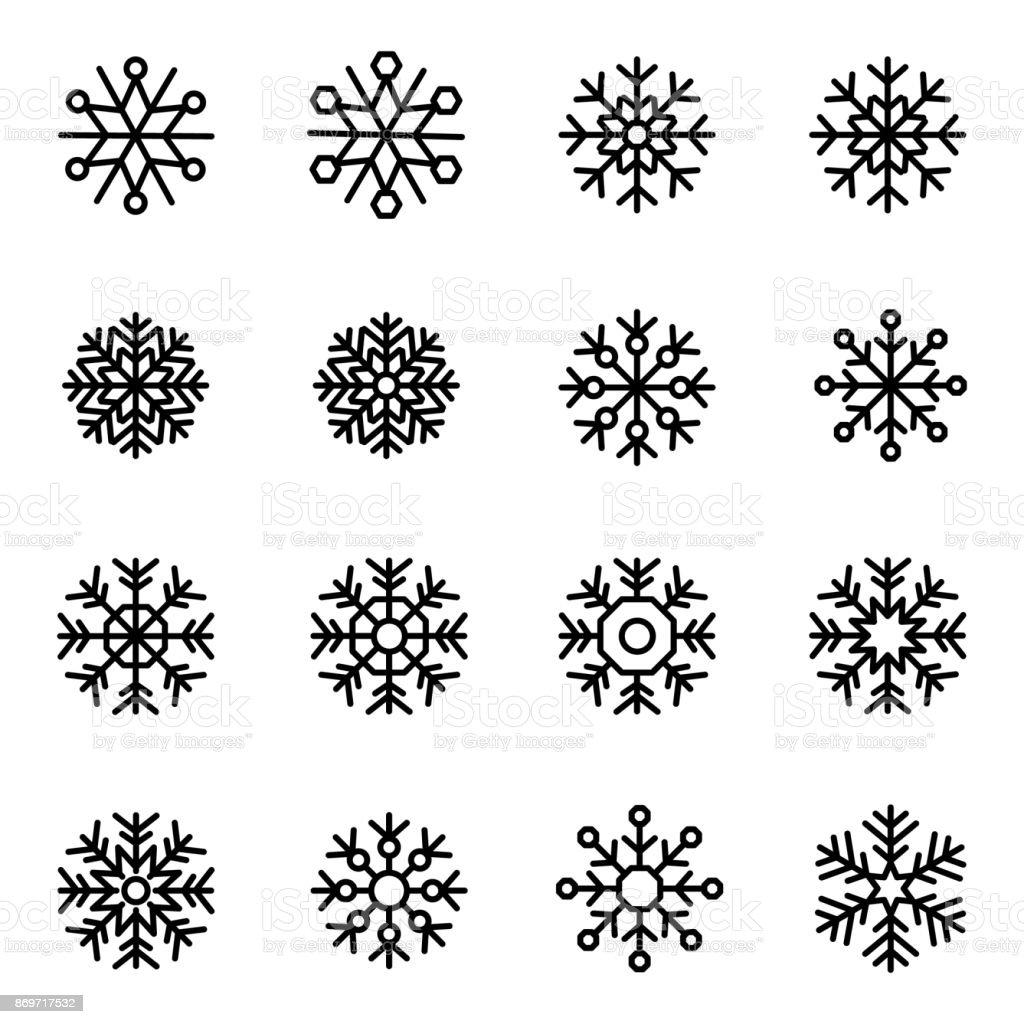 Decorative vector Snowflakes set vector art illustration