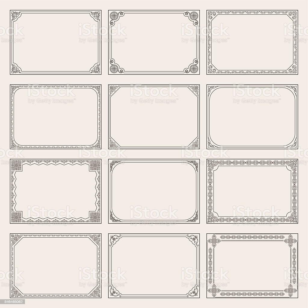 Decorative vector vintage frames and borders set vector art illustration