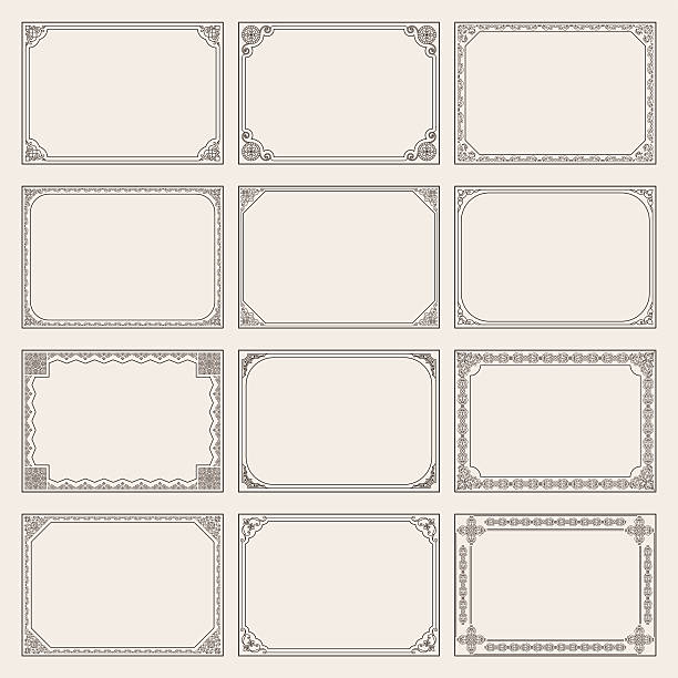 decorative vector vintage frames and borders set - picture frame borders stock illustrations, clip art, cartoons, & icons