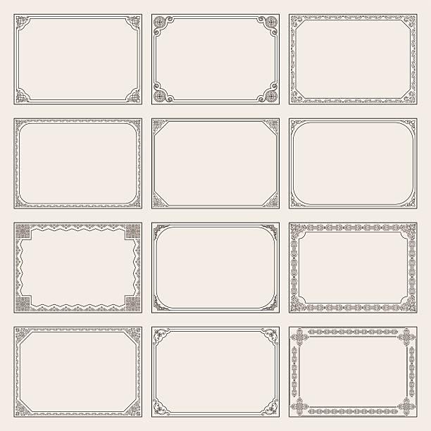 Decorative vector vintage frames and borders set vector art illustration