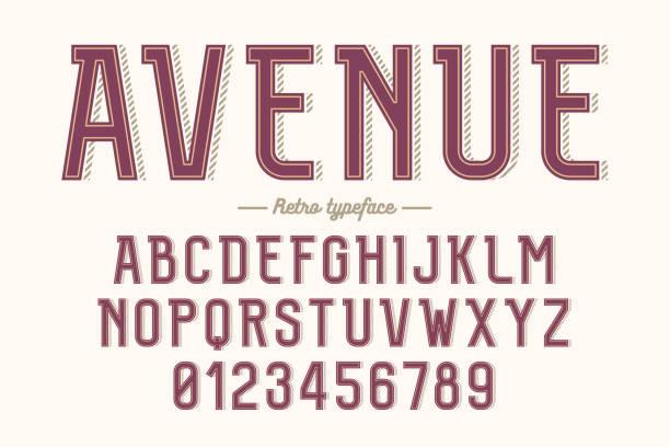 Decorative vector vintage retro typeface, font, alphabet letters, typeface vector art illustration