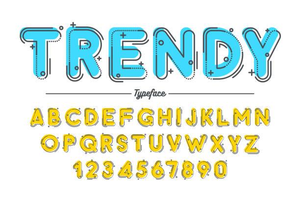 illustrazioni stock, clip art, cartoni animati e icone di tendenza di decorative vector vintage retro typeface, font, typeface - titolo mondiale