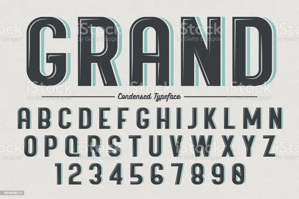 Decorative vector vintage retro typeface