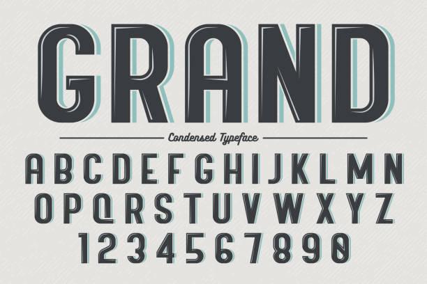 Decorative vector vintage retro typeface Decorative vector vintage retro typeface, font, typeset alphabet borders stock illustrations