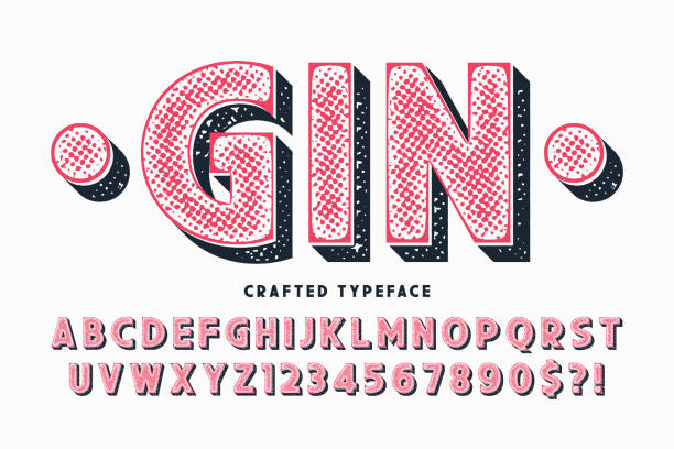 decorative vector vintage typeface, letters and numbers - alcohol drink patterns stock illustrations