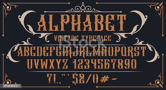 Decorative vintage alphabet. Perfect for brand, alcohol labels, emblems, shops and many other uses. Vector
