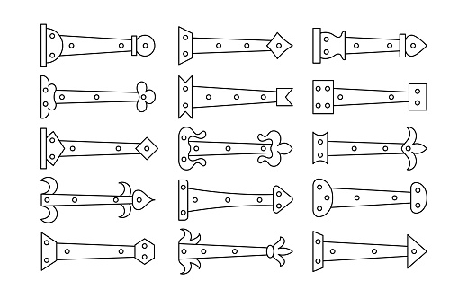 Decorative vintage arrow hinges. Accents for garage and barn doors, gates, trunks. Line icon set. Vector illustration. Signs of old hardware elements. Isolated objects