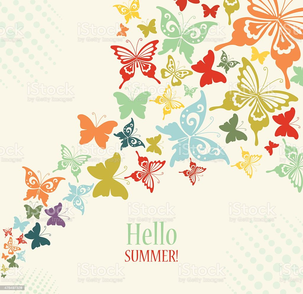 Decorative Vintage Background with Butterflies. vector art illustration
