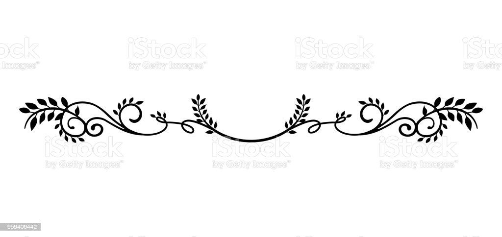 decorative vintage border illustration (natural plant) - arte vettoriale royalty-free di Albero