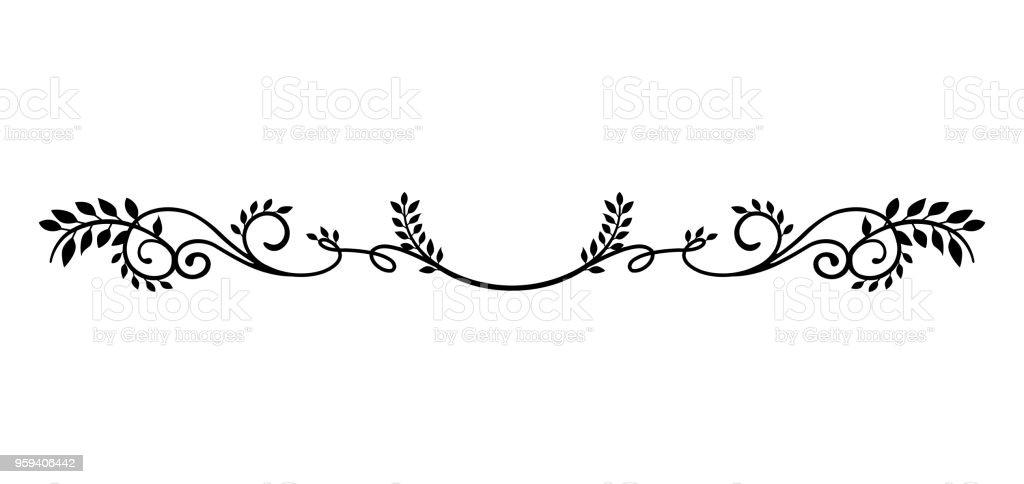 decorative vintage border illustration (natural plant) vector art illustration