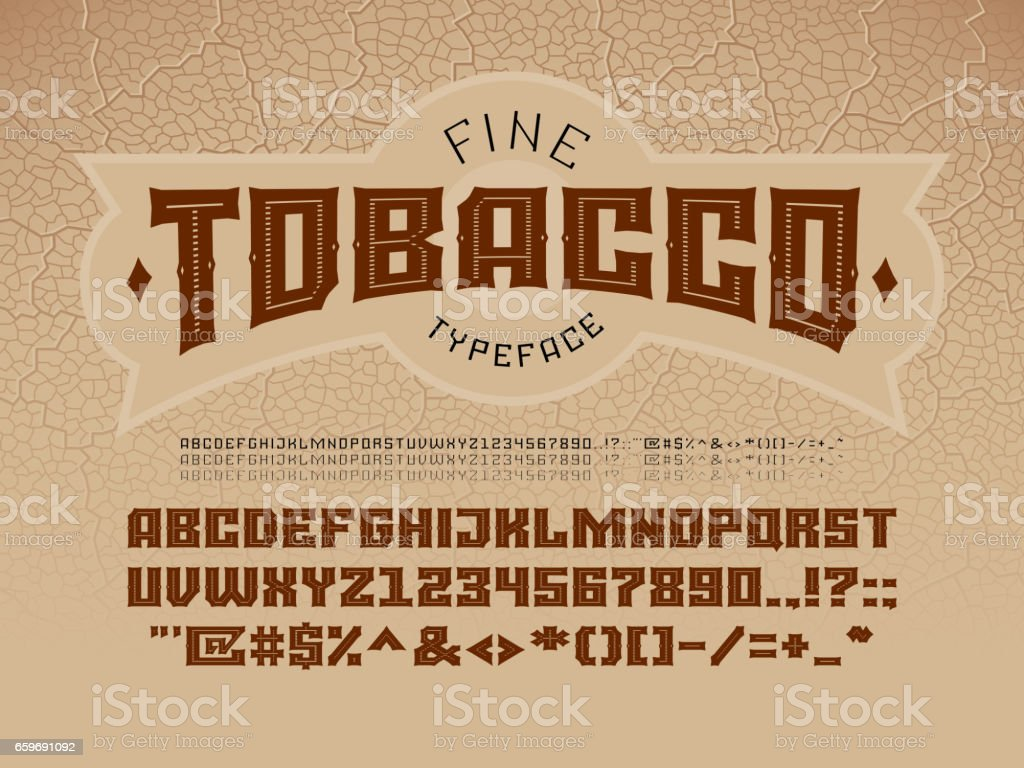 Decorative vintage font on the background of the texture of the tobacco leaf vector art illustration
