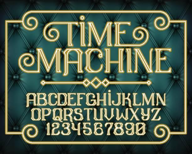 Decorative vintage font Time Machine vector art illustration