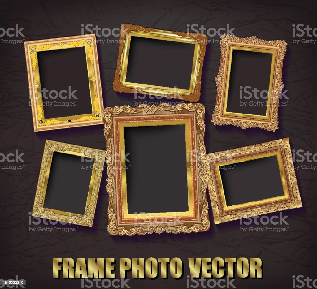 719f5fc89e8 Decorative vintage frames and borders set,Gold photo frame with corner  thailand line floral for picture, Vector design decoration pattern style.  border ...