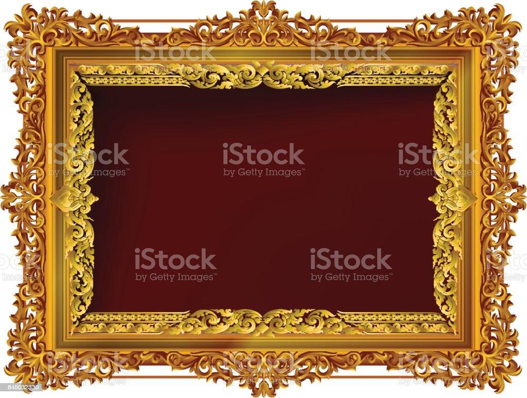 Vintage decorativa quadros e faz fronteira com moldura ouro, conjunto com linha de Tailândia canto floral para imagens, estilo de padrão de decoração de design vetorial. design de fronteira é estilo tailandês padrão - ilustração de arte em vetor