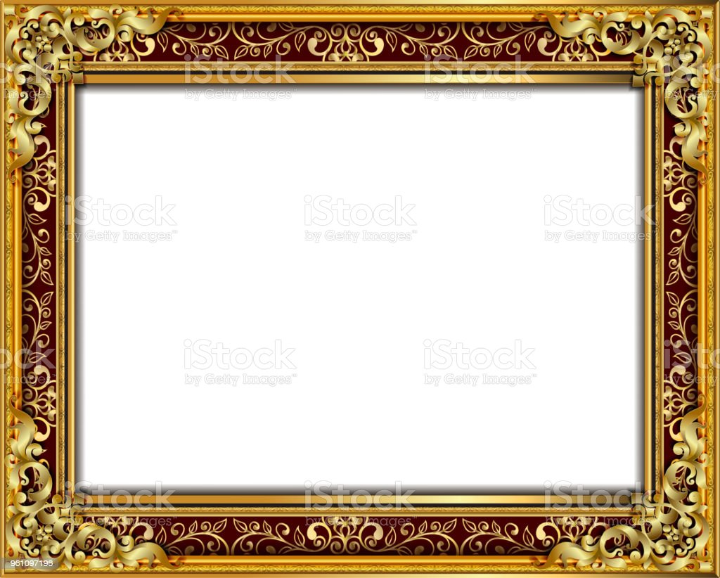 09f46b6409c Decorative vintage frames and borders set,Gold photo frame with corner  Thailand line floral for
