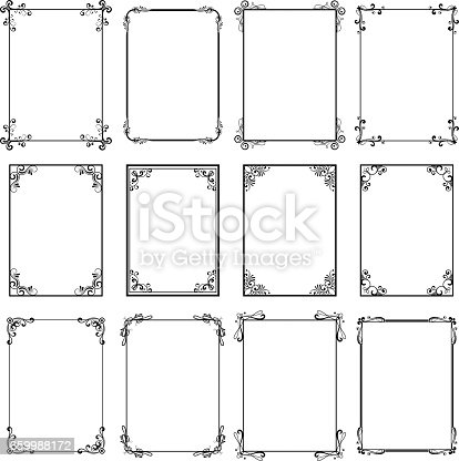 istock Decorative vintage frames. Vector black borders isolated on white background. Frame templates for cards design 659988172