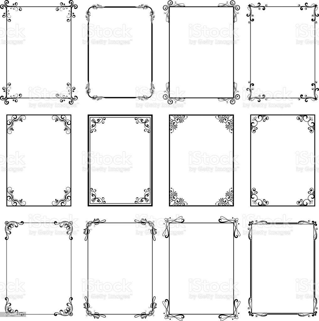 Decorative vintage frames. Vector black borders isolated on white background. Frame templates for cards design vector art illustration