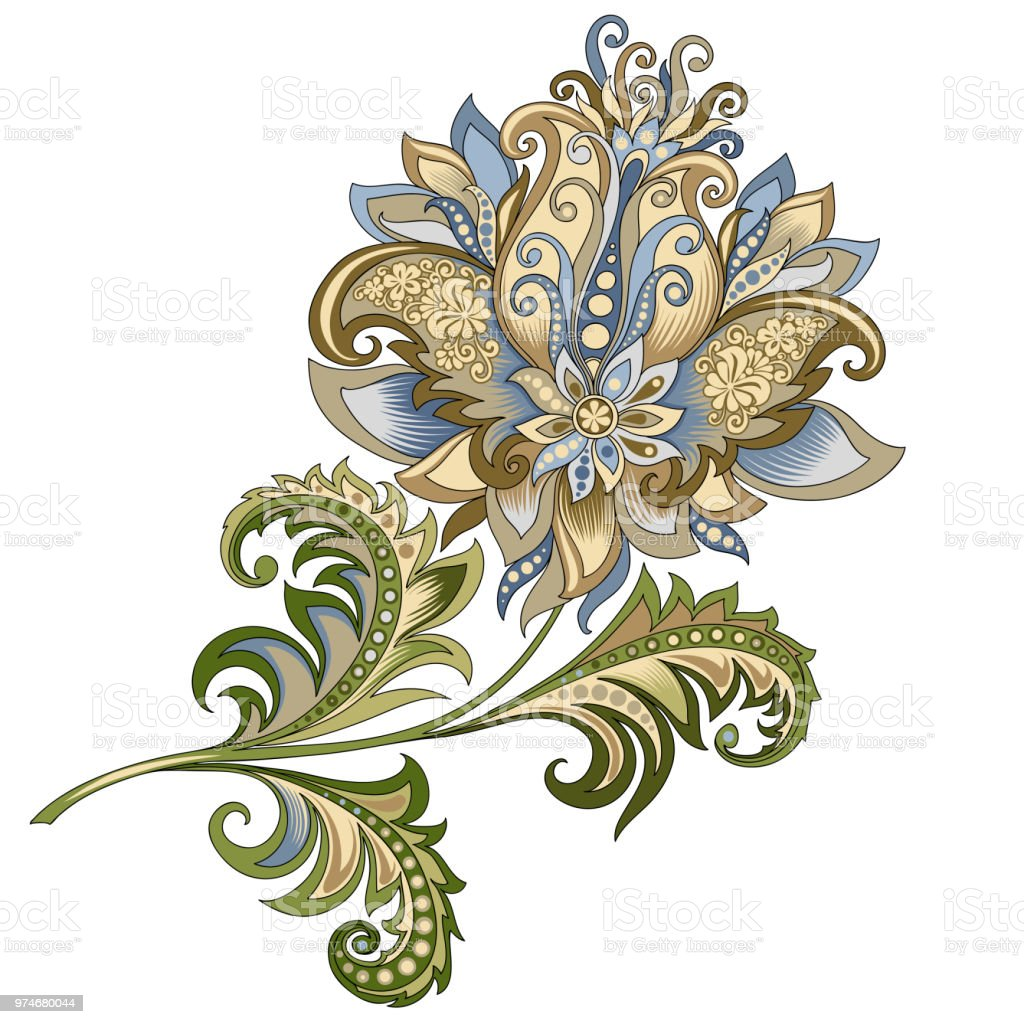 Decorative Vintage Gold And Blue Flower Stock Vector Art More