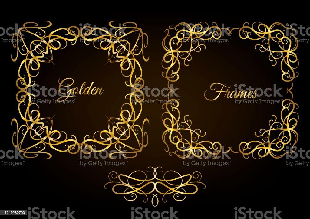 721929dfcb0 Decorative vintage golden curly frames set on black background. royalty-free  decorative vintage golden