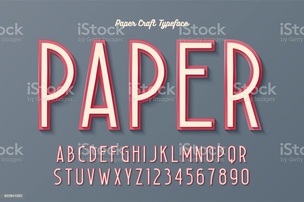 Decorative vintage paper craft typeface, font, typeface design vector art illustration