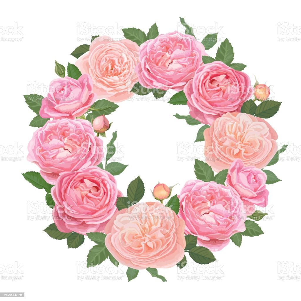 Decorative Vintage Pink Roses And Bud With Leaves In Round Shape