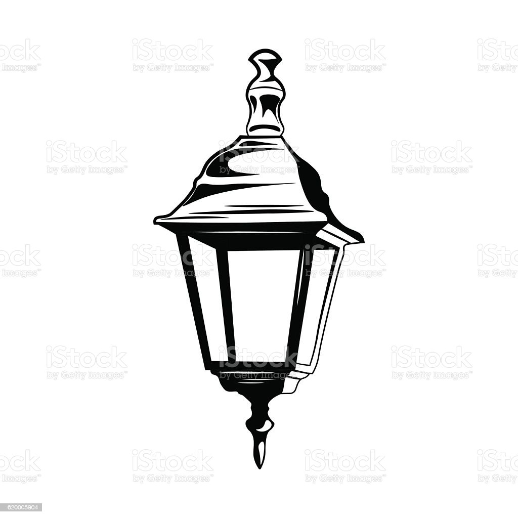 decorative vintage street lamp isolated on white retro light