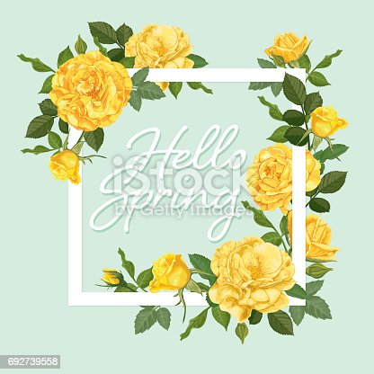 istock Decorative vintage yellow roses and bud with leaves in square shape. 692739558