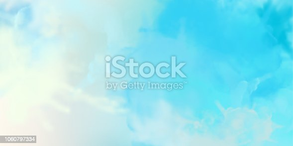 Decorative blue vector watercolor background with painting texture