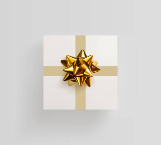 Decorative white gift box with realistic golden bow vector art illustration