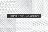 Decorative white seamless textures. Geometric
