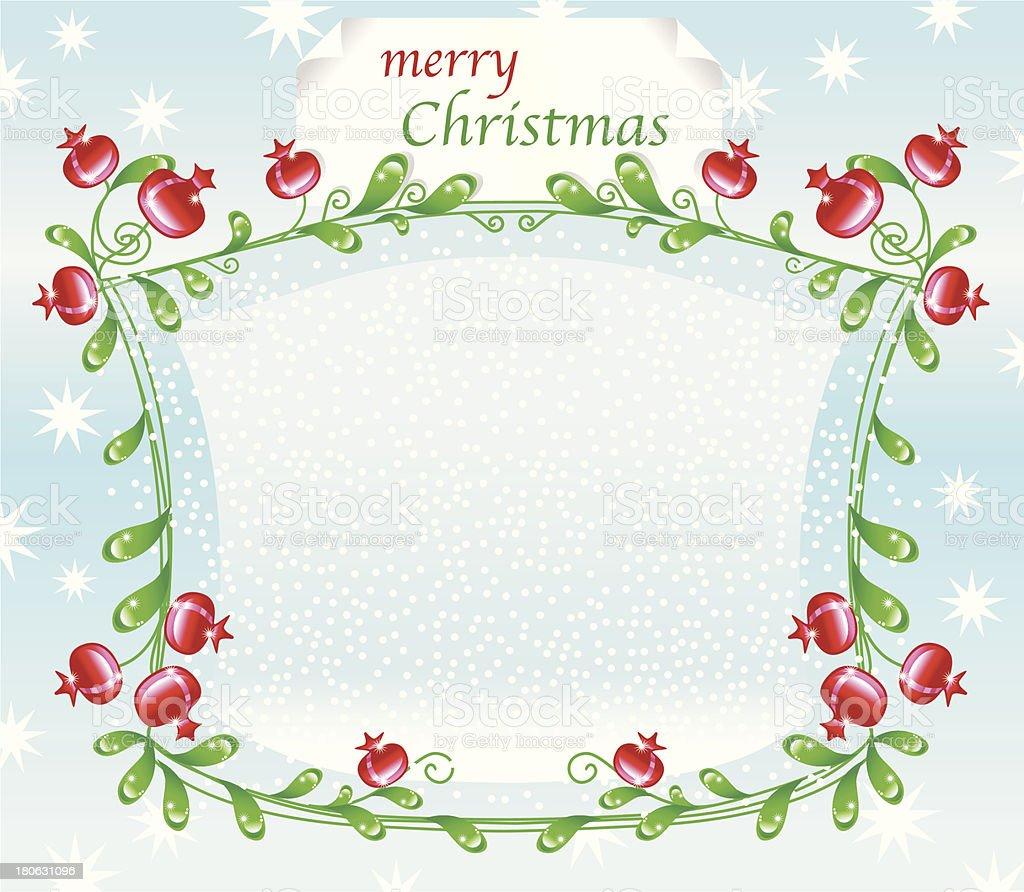 Dekorative winterborder mit rosehips (Schnee und Sterne). – Vektorgrafik